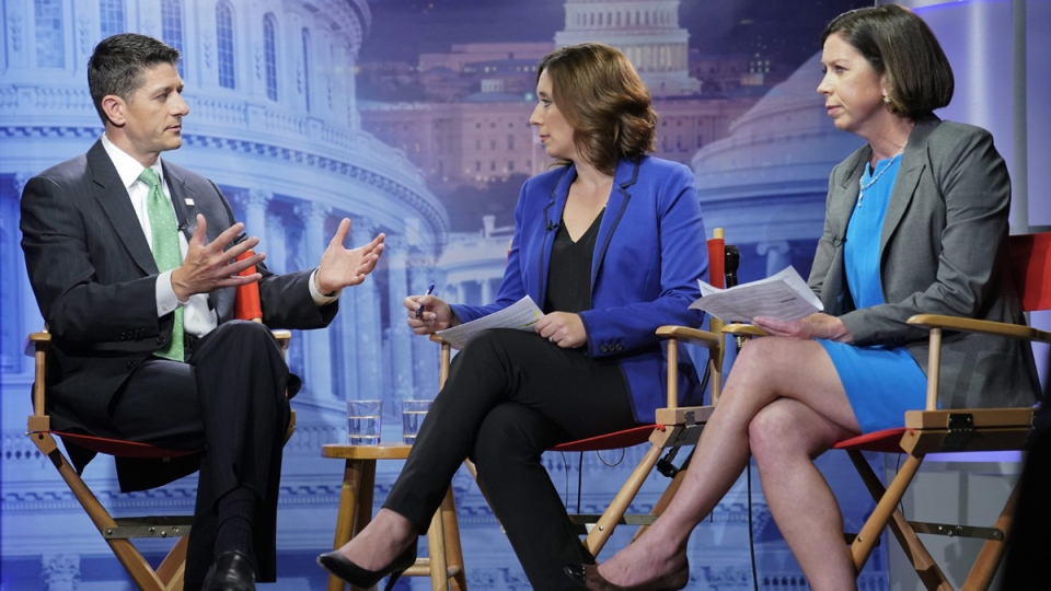 House Speaker Paul Ryan, left, with Julie Pace, AP chief of bureau in Washington and Erica Werner, AP congressional correspondent, on Sept. 13, 2017. (Pablo Martinez Monsivais / AP)