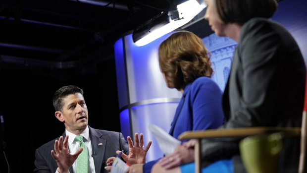 Paul Ryan with reporters Julie Pace, Erica Werner