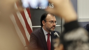 Mexico's Secretary of Foreign Relations Luis Videgaray at the Consulate General of Mexico in Los Angeles, on Sept. 12, 2017. (Reed Saxon / AP)