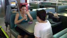 Customers enjoy thick milkshake at Zak's Diner.