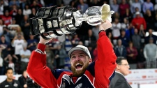 Aaron Luchuk celebrates winning the Memorial Cup championship with the Windsor Spitfires. (Aaron Bell/CHL Images)
