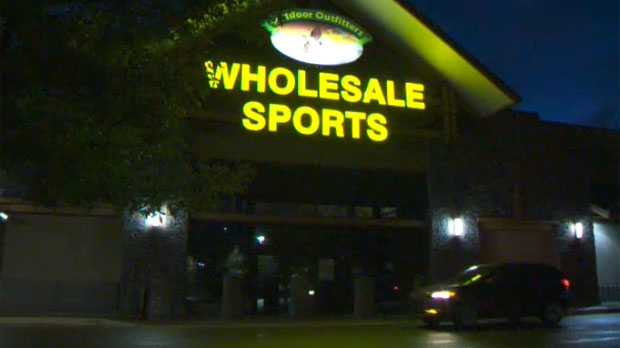 Wholesale Sports on Heritage Meadows Way SE in Calgary closed on Thursday and will reopen to liquidate its stock on Friday