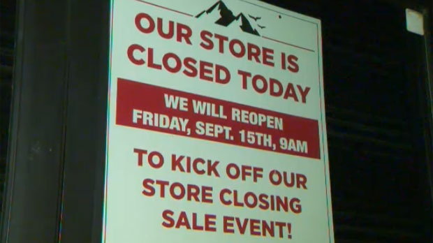 Closing sign on Wholesale Sports in Calgary
