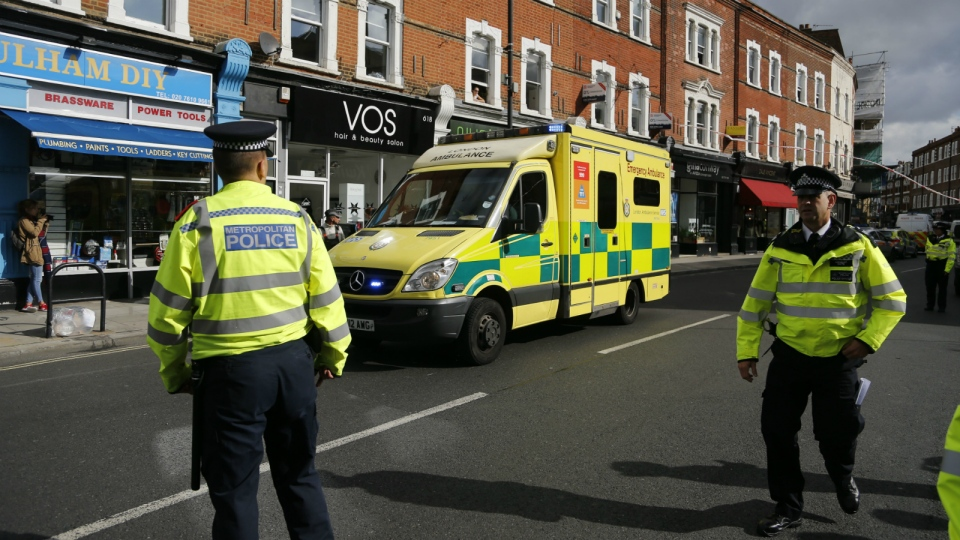 Police and an ambulance stand near Parsons Green subway station in London on Friday, Sept. 15, 2017. (AP / Frank Augstein)