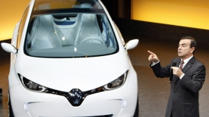 Renault Nissan Chief Executive Officer Carlos Ghosn addresses reporters during the presentation of the new Renault ZOE electric car at Renault's headquarters in Boulogne Billlancourt near Paris on Feb. 10, 2011. (AP /Remy de la Mauviniere)