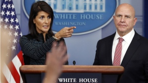 H.R. McMaster, right, and Nikki Haley
