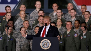 U.S. President Donald Trump speaks to military personnel and their families at Andrews Air Force Base, Md., Friday, Sept. 15, 2017. (AP Photo / Evan Vucci)