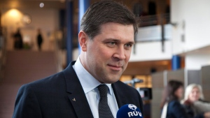 In this file photo, Icelandic Prime Minister Bjarni Benediktsson is seen on Saturday April 27, 2013. (AP Photo / Brynjar Gauti)