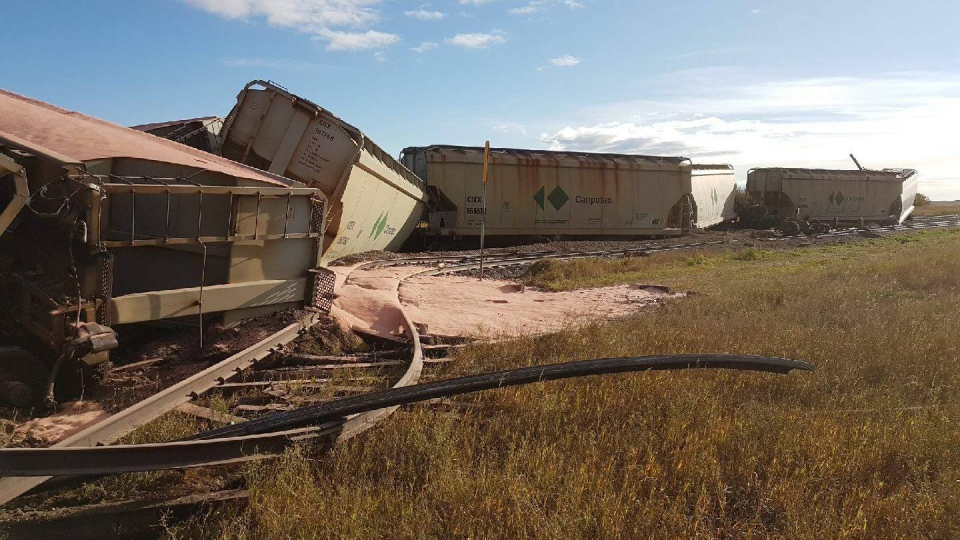 Numerous CP Railway cars lie off the track after a derailment southeast of Saskatoon on Friday, Sept. 15, 2017. (Marc Bandet)