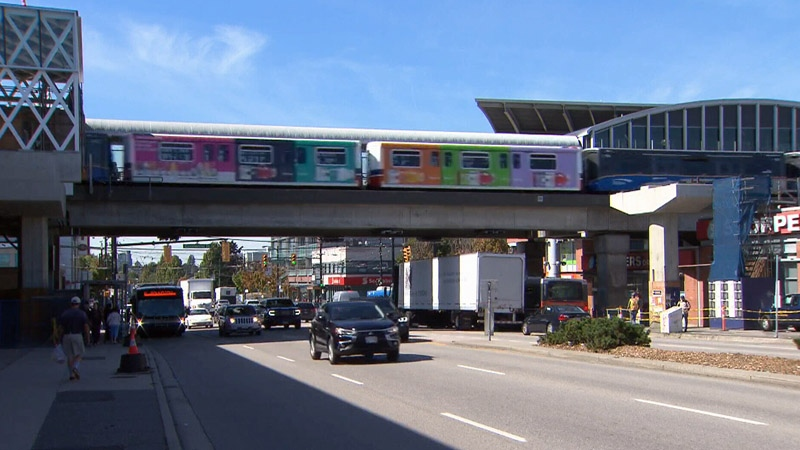 A SkyTrain passes through Commercial-Broadway Station in Vancouver, B.C., on Friday, Sept. 15, 2017.