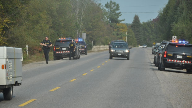 The OPP at the site of the arrest (photo: Gerald Tracey, The Eganville Leader)