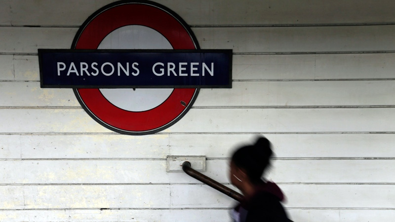 A passenger walks onto the platform at Parsons Green subway station after it was reopened following a terrorist attack on a train at the station yesterday in London, Saturday, Sept. 16, 2017. (AP /Tim Ireland)