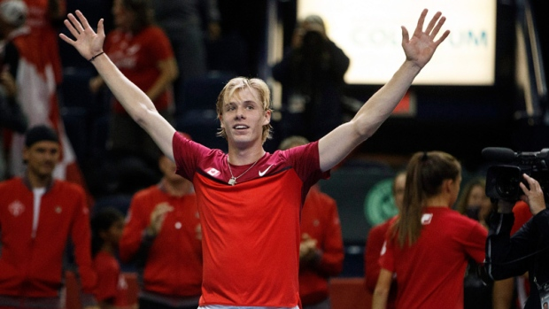 Canada's Denis Shapovalov celebrates his win