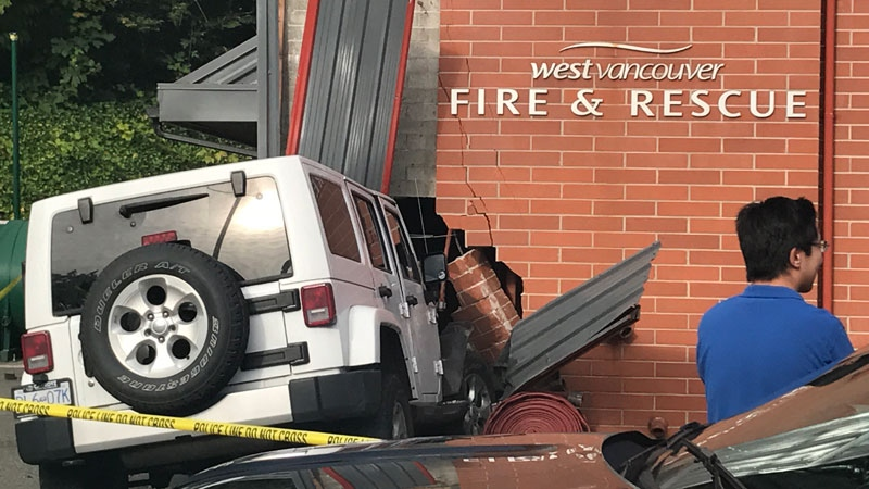 The Jeep was still lodged in the side of the fire hall five hours later on Sept. 16, 2017. (CTV)
