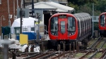 A police forensic tent stands setup on the platform next to the train on which a homemade bomb exploded at Parsons Green subway station in London on Friday, Sept. 15, 2017. (AP / Frank Augstein)
