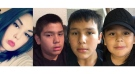 Police said they are looking for 16-year-old Taya Guimond, 13-year-old Ross Blackbird, 12-Year-old Haiden Guimond and 10-year-old Peyton Guimond. (Source: Winnipeg Police Service)