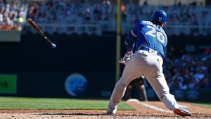 Toronto Blue Jays' Josh Donaldson loses his bat as he strikes out in the fourth inning of a baseball game against the Minnesota Twins, Sunday, Sept. 17, 2017, in Minneapolis. (AP Photo/Jim Mone)
