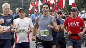 Prime Minister Justin Trudeau takes part in the annual Army Run in Ottawa, Sunday, Sept. 17, 2017. THE CANADIAN PRESS/Fred Chartrand