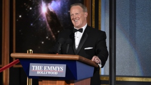 Sean Spicer speaks at the 69th Primetime Emmy Awards at the Microsoft Theater in Los Angeles on Sunday, Sept. 17, 2017. (Chris Pizzello / Invision)