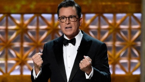 Host Stephen Colbert speaks at the 69th Primetime Emmy Awards on Sunday, Sept. 17, 2017, at the Microsoft Theater in Los Angeles. (Photo by Chris Pizzello/Invision/AP)