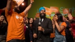 Leadership contender Jagmeet Singh dances on stage with supporters after speaking at the NDP's Leadership Showcase in Hamilton, Ont. on Sunday September 17 , 2017. THE CANADIAN PRESS/Chris Young