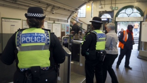 Transport police keep guard at Parsons Green station in London, Monday, Sept. 18, 2017. (AP / Kirsty Wigglesworth)