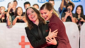 "Actresses Ellen Page, left, and Kate Mara attend the premiere for ""My Days of Mercy"" on day 9 of the Toronto International Film Festival, at Roy Thomson Hall on Friday, Sept. 15, 2017, in Toronto. (Photo by Arthur Mola/Invision/AP)"