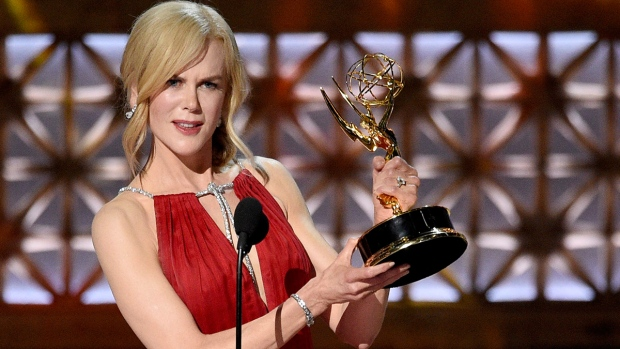 "Nicole Kidman accepts the award for outstanding lead actress in a limited series or a movie for ""Big Little Lies"" at the 69th Primetime Emmy Awards on Sunday, Sept. 17, 2017, at the Microsoft Theater in Los Angeles. (Photo by Chris Pizzello / Invision / AP)"