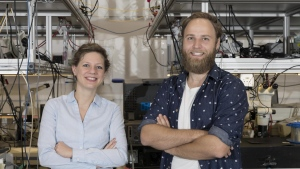 This is Dr Birgit Stiller (left) and Moritz Merklein in their laboratory in the University of Sydney Nanoscience Hub.(Louise Connor/University of Sydney)