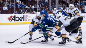 The Vancouver Canucks faced off against the Golden Knights for the new Las Vegas franchise's first-ever pre-season game Sunday. The Knight won the game, which was peppered with performances by an Elvis impersonator, with a score of 9-4. Sept. 17, 2017. (Anil Sharma/CTV)