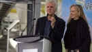 Film director James Cameron, left, and his wife Suzy Amis Cameron speak during a funding announcement at Verdient Foods Inc. in Vanscoy, Sask., on Monday, Sept. 18, 2017. THE CANADIAN PRESS/Liam Richards