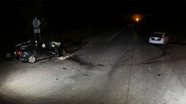 Head-on crash on Highway 148 near Quyon, Quebec on Friday September 15, 2017 (MRC Police photo)