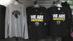 Waterloo Warriors shirts are seen in the University of Waterloo store on Monday, Sept. 18, 2017.