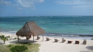 This December 2011 photo shows the beach at the Mayan Garden Inn near Majahual in Costa Maya, Mexico. (AP Photo/Kim Curtis)