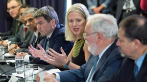 Minister of Environment and Climate Change, Catherine McKenna, addresses a Roundtable Ministerial Meeting on Climate Change Friday, September 15, 2017 in Montreal. (Paul Chiasson/The Canadian Press)