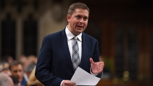 Conservative Leader Andrew Scheer stands during question period in the House of Commons on Parliament Hill in Ottawa on Monday, Sept. 18, 2017.  (Sean Kilpatrick / THE CANADIAN PRESS)