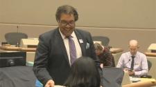 Calgary Mayor Naheed Nenshi submits his paperwork on Monday, September 18, 2017.