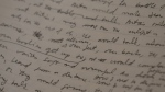 A closeup look at the handwritten first draft of Margaret Atwood's 1985 novel, The Handmaid's Tale, at the University of Toronto's Thomas Fisher Rare Book Library. (CTV News)