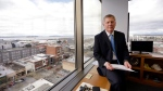 FILE--In this Feb. 16, 2017, file photo, Everett Mayor Ray Stephanson sits in his corner office overlooking downtown Everett, Wash. (AP Photo/Elaine Thompson)