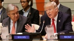 United States President Donald Trump, right, speaks while United Nations Secretary-General Antonio Guterres listens at a meeting during the United Nations General Assembly at U.N. headquarters, Monday, Sept. 18, 2017. (AP Photo/Seth Wenig)