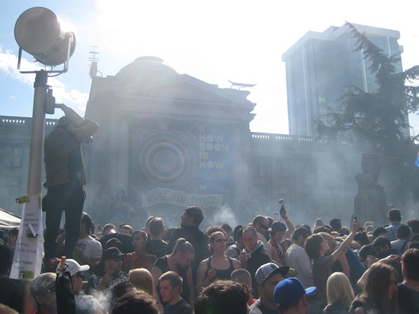 The Vancouver Art Gallery is obscured by a giant cloud of marijuana smoke at exactly 4:20 p.m. on April 20, 2009.
