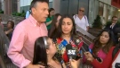 The Munoz family speak with reporters outside a quickly adjourned police tribunal hearing on September 19, 2017.