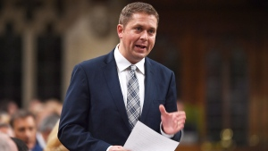 Conservative Leader Andrew Scheer stands during question period in the House of Commons on Parliament Hill in Ottawa on Monday, Sept. 18, 2017. (Sean Kilpatrick/THE CANADIAN PRESS)