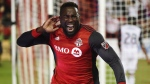 Toronto FC forward Jozy Altidore (17) celebrates after scoring against the Philadelphia Union during second half MLS soccer action in Toronto on Wednesday, August 23, 2017. (THE CANADIAN PRESS/Nathan Denette)