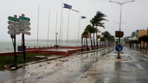 A road is empty in Sainte-Anne on the French Caribbean island of Guadeloupe, early Tuesday, Sept. 19, 2017, after the passing of Hurricane Maria. (AP Photo/Dominique Chomereau-Lamotte)