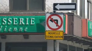 People who live and work on Montreal's Towers St. were left in limbo after crews installed a sign banning cars from turning onto their tiny one-way street. (CTV Montreal)