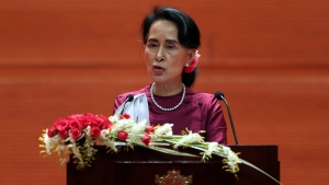 Myanmar's State Counsellor Aung San Suu Kyi delivers a televised speech to the nation at the Myanmar International Convention Center in Naypyitaw, Myanmar, Tuesday, Sept. 19, 2017. After a mass exodus of Rohingya Muslims sparked allegations of ethnic cleansing, Suu Kyi said Tuesday her country does not fear international scrutiny. (AP Photo / Aung Shine Oo)