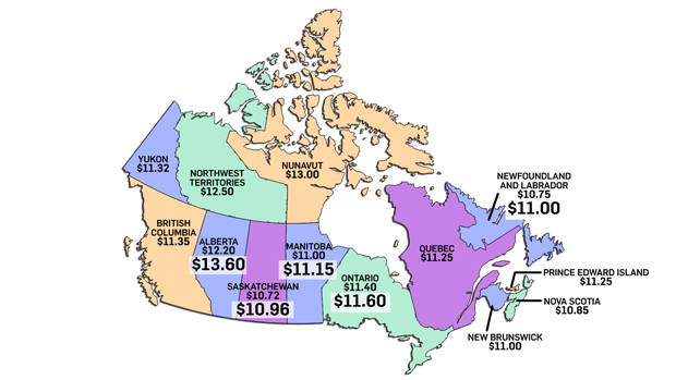 Current minimum wages across Canada are shown on this map, with increases coming Oct. 1, 2017 highlighted in white (Data source: Government of Canada, Government of Manitoba, Government of Saskatchewan)