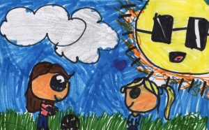 Weather art by Courtney, age 7, from Cambridge Elementary.
