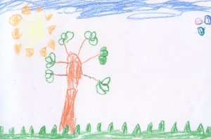 Weather art by Dylan, age 5, from Westside School.
